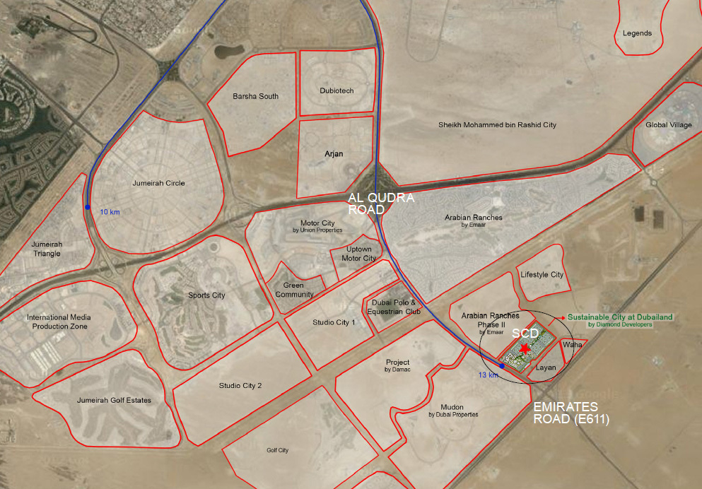 Dubai Sustainable City location (Image: Diamond Developers)