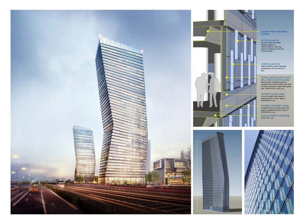 Perspective view of proposed 200m, 52-story hotel tower; facade architectural concept diagram