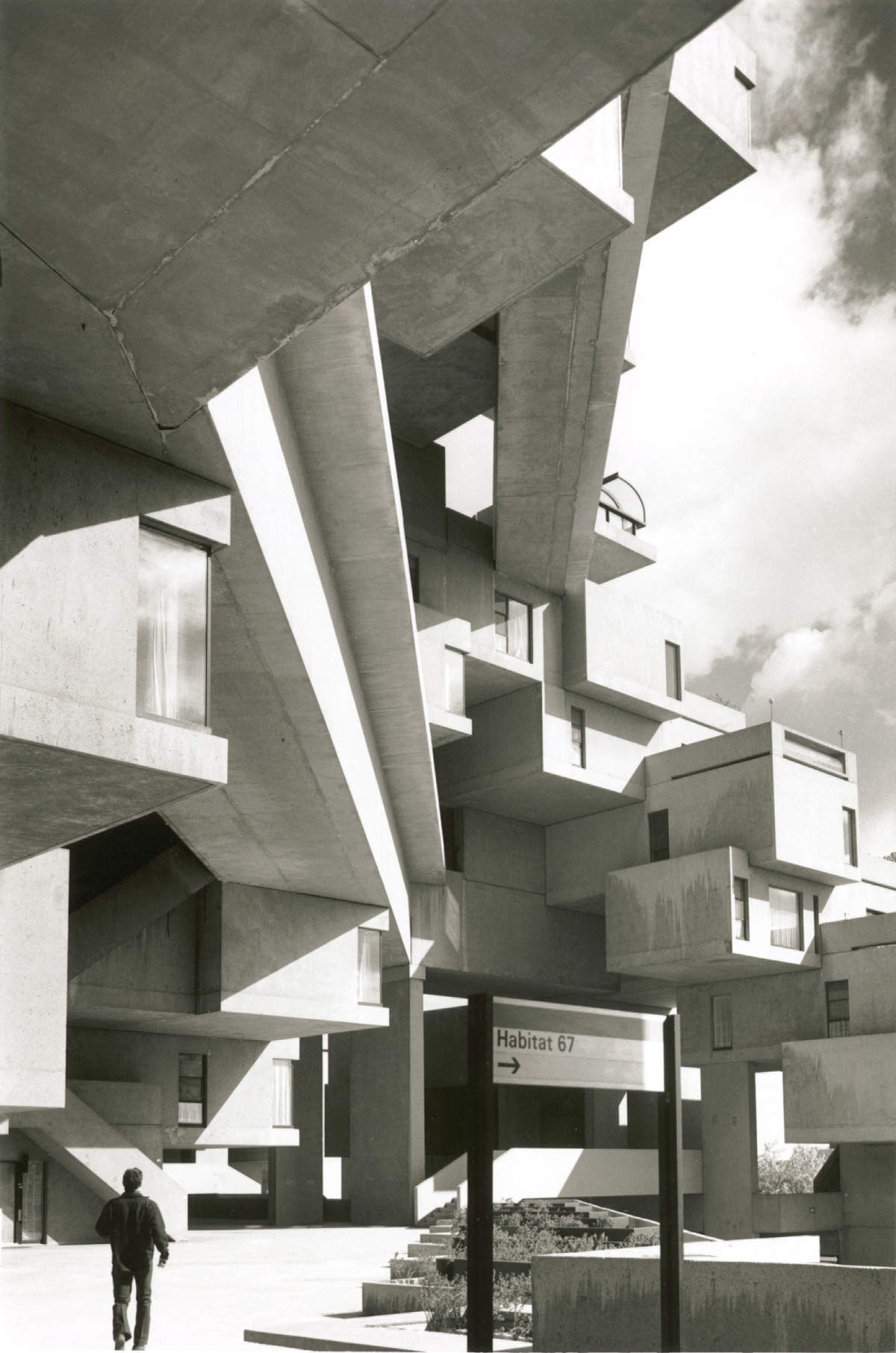 Habitat 67: pedestrian view from below. Credit: Jerry Spearman courtesy of Safdie Architects