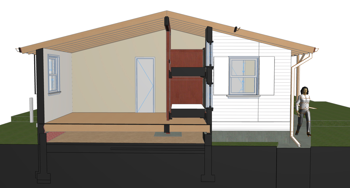 Working ArchiCAD Model - Color choices have yet to be made. SECTION THROUGH BUNKS AND WINDOWS.