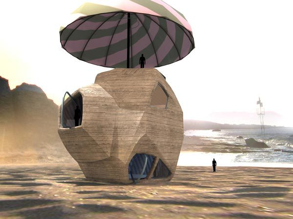 Angelidakis Menir House is a house shaped like a rock sitting under an umbrella on the beach. It was originally designed for a competition, although never submitted. Credit: Andreas Angelidakis