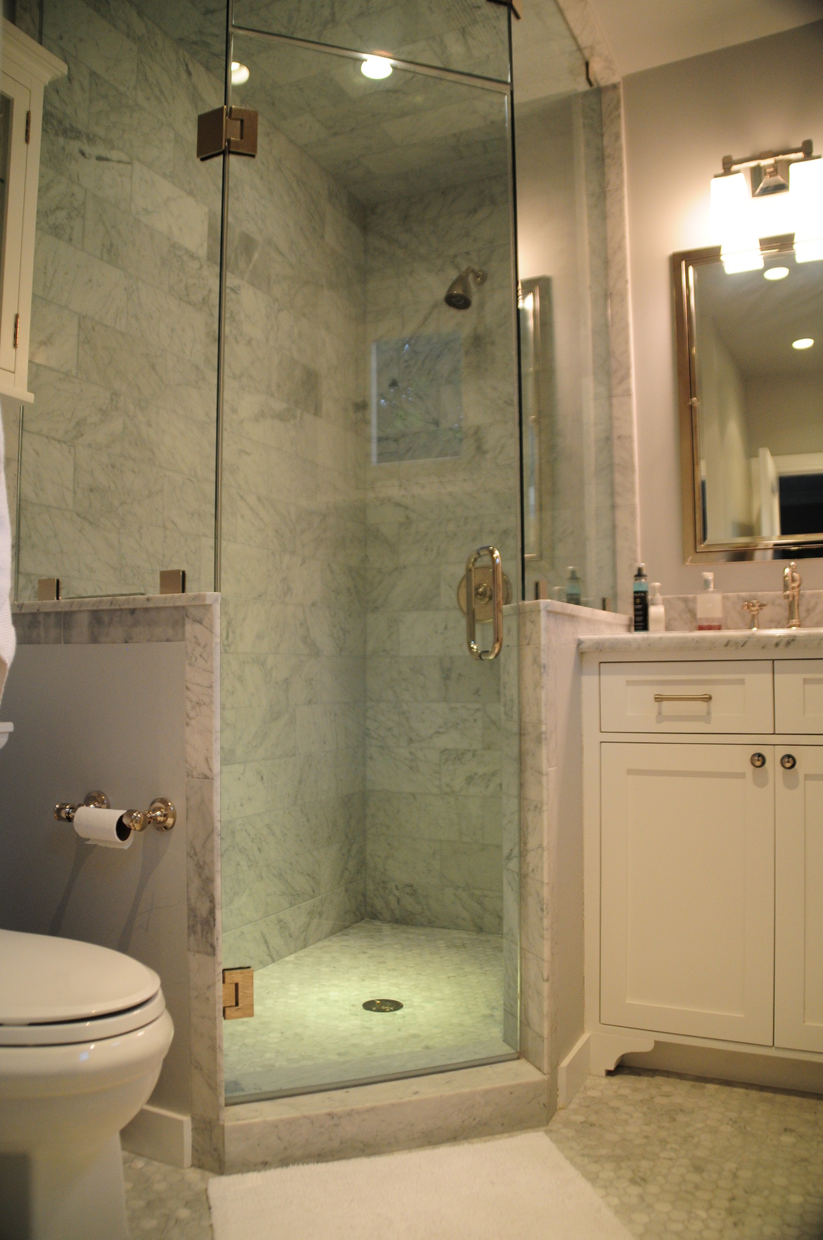 The utility room was reorganized to create a new master bath.