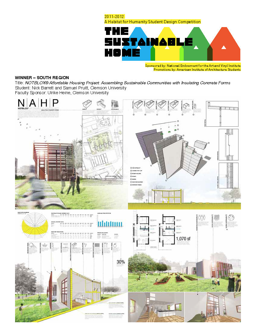 Clemson graduate students win habitat for humanity 39 s for Sustainable housing plans
