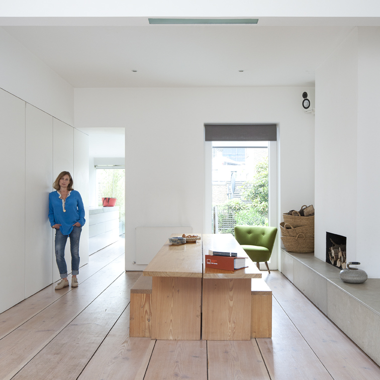 Penelope Chilvers, fashion designer, at her home (AKA Pawson House), designed by John Pawson, London, UK 1999