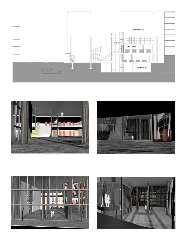 Renderings and a section of the library.