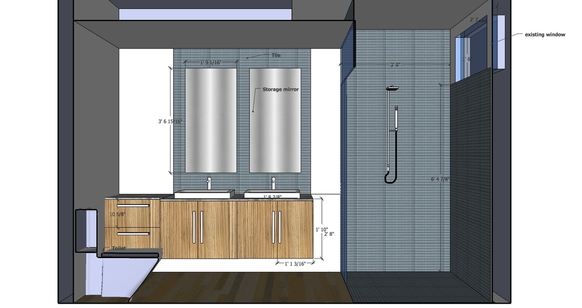 Master bathroom proposed design- elevation