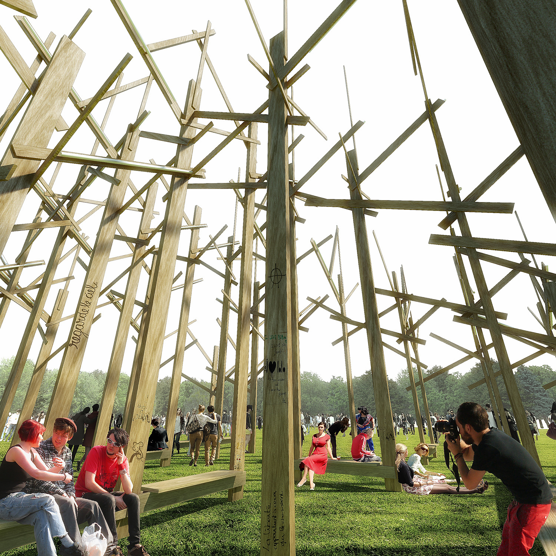 atelier yokyok to install winning treedom centerpiece for budapest 39 s summer sziget festival. Black Bedroom Furniture Sets. Home Design Ideas