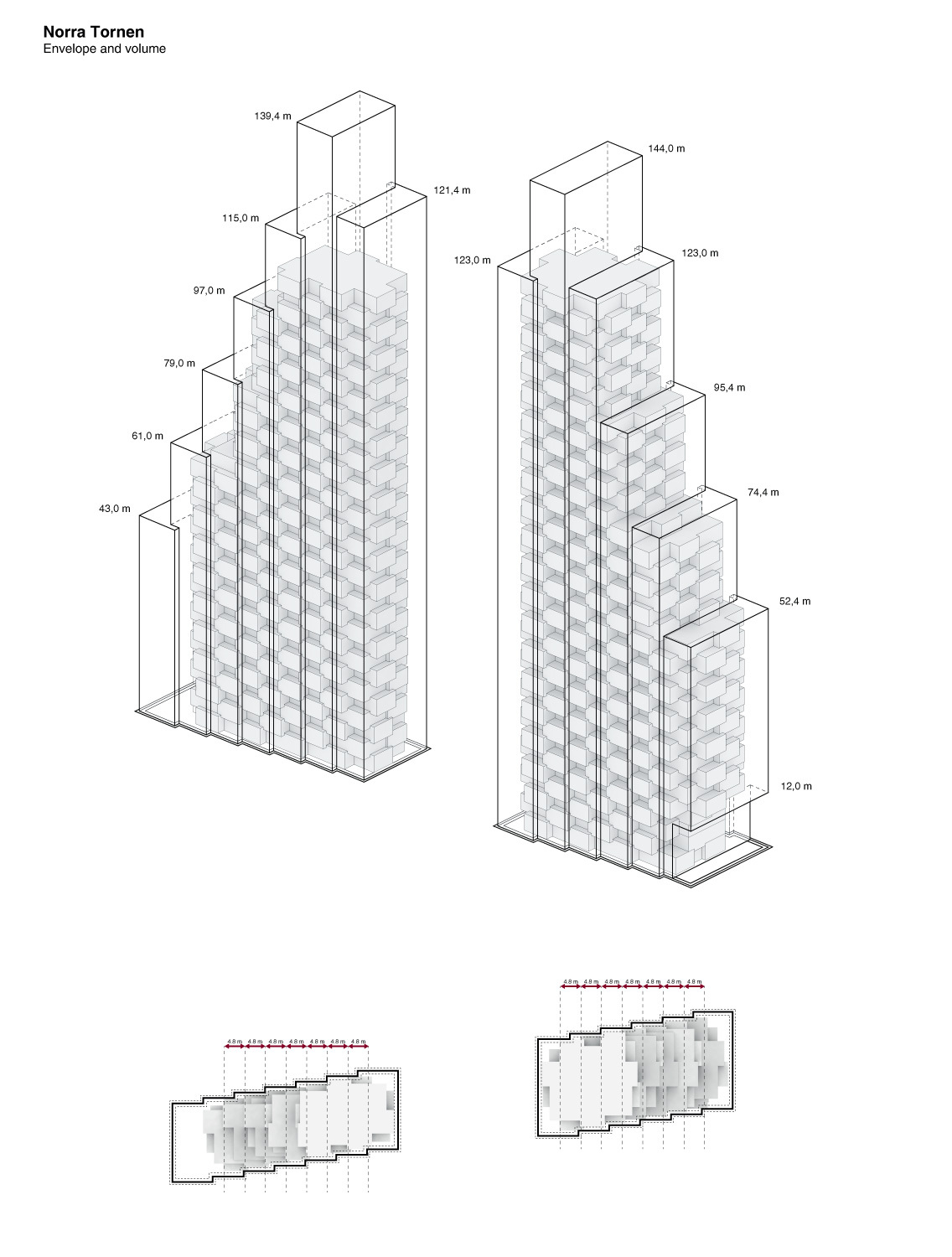 new details on oma u0026 39 s norra tornen twin towers in stockholm