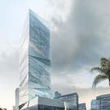 Cornerview of HENN's winning high-rise proposal in Wenzhou. Image © HENN