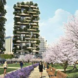 Rendering of the Bosco Verticale, or Vertical Forest, in the Porta Nuova Isola complex in Milan. Image: Hines Italia Srl