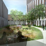 A rendering of the spacious courtyards