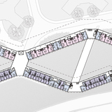 Danielle Bowler and Catherine Carter Sims | Bowler and Sims scheme stacks trays accessed by long, winding public pathways in a timber-framed structure.