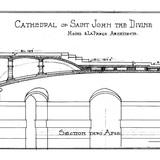 Sketch of the section of Cathedral of St. John the Divine with vaults over the crypt by the Guastavino Company for the architectrual firm Heins and LaFarge. Courtesy of Avery Architectural and Fine Arts Library, Columbia University