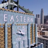 Screen shot from Downtown Los Angeles flyover, taken with a drone.