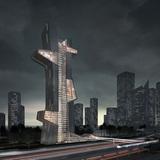 Dubai Architecture School Tower 1st-prize winner: Blue Tape by Evan Shieh and Ali Chen (U.S.)
