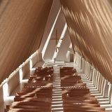 A model of the Cardboard Cathedral's interior.