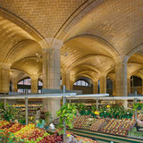 Architect Henry Hornbostel called on the Guastavino Company to design a vaulted arcade below the approach to the Queensboro Bridge, to serve as a public market. Visually, the canopy of tile vaulting transformed a regular grid of columns into a soaring celebration of public space. Photo © Michael...