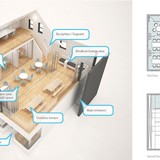 Plans and axonometric diagram of space. Image via go-design.co