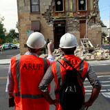 Engineers surveying damage caused by the Napa Quake. Credit: Karl Mondon/Bay Area News Group