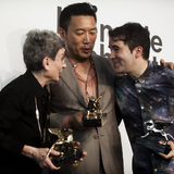 From L to R: Phyllis Lambert, Minsuk Cho, and Andrés Jaque holding their respective Golden Lion and Silver Lion awards at the 2014 Venice Biennale awards ceremony. Photo: Rondinella
