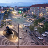 Superkilen park in Copenhagen, Image © Iwan Baan, image via http://www.architecturenewsplus.com/projects/2716