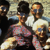 Sussman and the Eames Office wearing 4th of July Glasses by Deborah Sussman (cir. 1965). Image courtesy of WUHO.