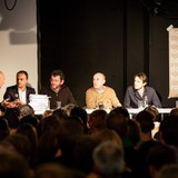 Rem Koolhaas, and Stephan Trüby (the project teachers), Manfredo di Robilant, Sebastian Marot, Antoine Picon (functioning as external critics) and the debate was moderated by Tom Avermate. Photo by Fred Ernst.
