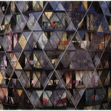 "In their ""Postcard from the Future"" imagining 30 St Mary Axe as a ruined tenement, Robert Graves and Didier Madoc-Jones suggested that sophisticated design expertise could help London avoid negative impacts of climate change. Robert Graves and Didier Madoc-Jones. The Gherkin, 2010."