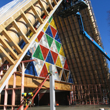 The exterior of the Cardboard Cathedral.