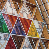 Detail of the glass window above the cathedral's entrance. Photo courtesy of architecture now.