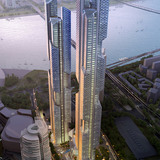 Aerial view of Tower 1 and Tower 2 (Image: Adrian Smith + Gordon Gill Architecture)