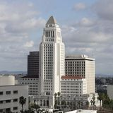 LA City Hall view from the Walt Disney Concert hall via Wikimedia Commons