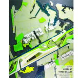 Figure 1. Model at three scales. The base, which depicts Queens, New York, at 1:1,000 scale, shows streets, the subway, parks, and light industrial zones. The surrounding neighborhood is modeled at 1:50 and is layered directly on top of the base. The project proposal is modeled at 1:20 and...