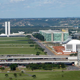 Ministries Esplanade with several of Niemeyer's buildings: the National Congress, the Cathedral, the National Museum and the National Library, Brasilia, D.F., 2006, Brasília