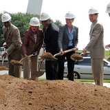Officials from the U.S. Dept. of Transportation break ground as the plans construction begins. Photo courtesy of MoDOT flickr.