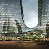 Chengdu hotel+office development (competition entry) by HMD New York. Image © HMD China
