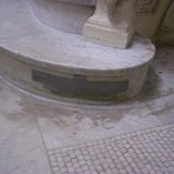 Duck-tape on a curvature of a marble/granite stair base! This is appalling and deplorable and shows just detrimental the renovation work was!