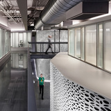 A floating bridge connects the rooms and spaces on the second floor of Pratt Institute's Film/Video Department Building. Photo credit: Alexander Severin RAZUMMEDIA
