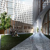 A rendering of the pathway shows the exterior of the Dining Commons