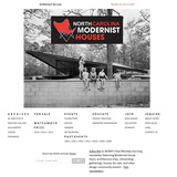The top half of the NCMH website's landing page showing the organization's logo and a 1960s black-and-white public domain photo of the iconic Eduardo Catalano house that was in Raleigh, North Carolina, until it was destroyed in 2001.