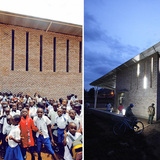 Night/ day view of the Kimisagara Football for Hope Center. Location: Kigali, Rwanda. Credit: Killian Doherty