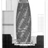 "As this diagrammatic section through a near-final version of the tower shows, atriums two and six floors tall link many of the office floors. Foster + Partners, Sheet PA1202, ""Bury Street East Illustrative Section,"" from a drawing set submitted with the final planning application for 30 St..."
