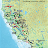 California water system by Shannon1 via wikipedia.org, background image in public domain.