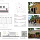 Holcim Silver Award: Sustainable refurbishment of a primary school: General plan and sections/photos of the renewed school / detail section and façades of the external mobile panels.