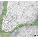 Krithika Iyengar and Sabrina Plum; Iyengar and Plum confront the East River with a tower anchored off-shore, to serve as a place of recreation as well as a space of refuge, drawing people out to the edge in lieu of demanding a retreat from that edge.