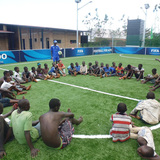 Street children taking part in activities and workshops at the Kabondo Football for Hope Center. Location: Bujumbura, Burundi. Credit: Elena Ghibaudo