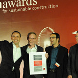 "Winners of the Holcim Awards Gold 2011 Asia Pacific for ""Locally-manufactured cob and bamboo school building, Jar Maulwi, Pakistan"" (l-r): Eike Roswag, Ziegert Roswag Seiler Architekten Ingenieure, Germany, Arne Tönissen, Akim Jah and Karim Jah."