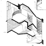 George Cairns' detailed architectural drawing of the East Wing Staircase of the Mackintosh Building.