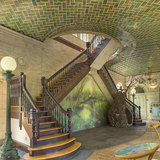 The Boathouse in Prospect Park in Brooklyn is an example of how the Gustavino Company offered their design suggestions to the arthitectural firms, who in turn adopted Guastavino designs with few changes. The Boathouse was designed by the arhitectural firm Helmle and Huberty. This photograph of...
