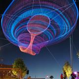 Her Secret is Patience - Phoenix Civic Space Sculpture in Phoenix, AZ by artist Janet Echelman (structural engineer: Nathaniel Stanton, photo: Christina OHaver)